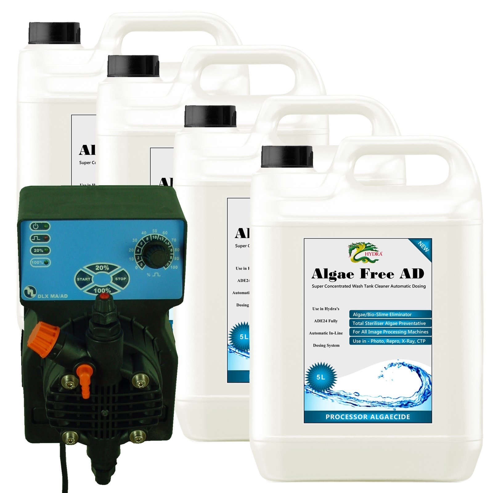Auto Dosing System HYDRA ADE24/TX with 4x5L Algae Free AD Bottles Cleans Mini Labs Pro Labs Film Wash Tank by HYDRA