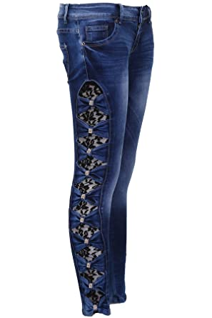 Skinny En Pantalon Jean Coté Pour Noeud Femmes Sapphire Strass HI9EWD2Y