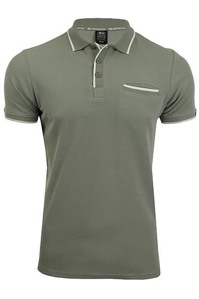 Crosshatch Hombre Acanalado Collar de Puño de Bolsillo Polo Camiseta Fmd1u8
