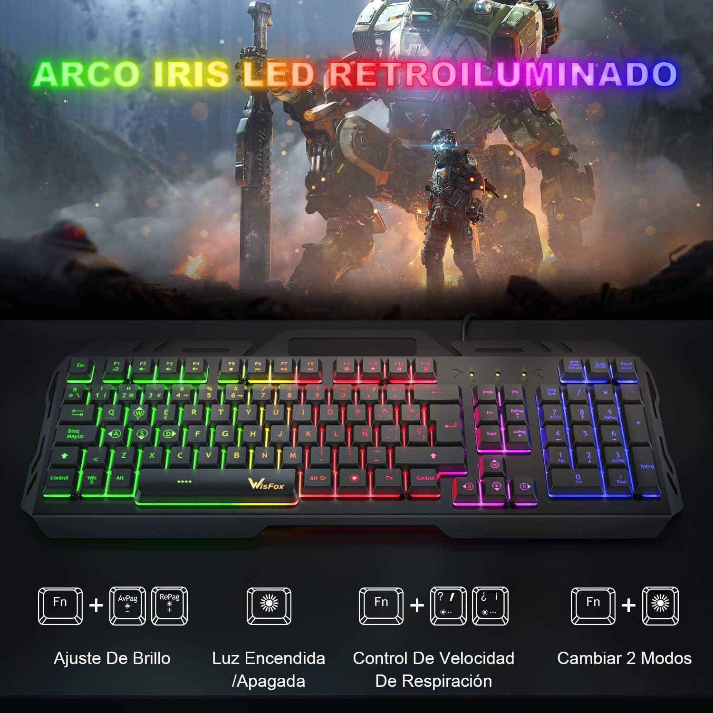 Teclado Gaming, WisFox Colorido Arco Lris LED Retroiluminación USB con Cable Teclado, Teclado de Computadora Ultra-delgado y Silencioso, de Panel de ...