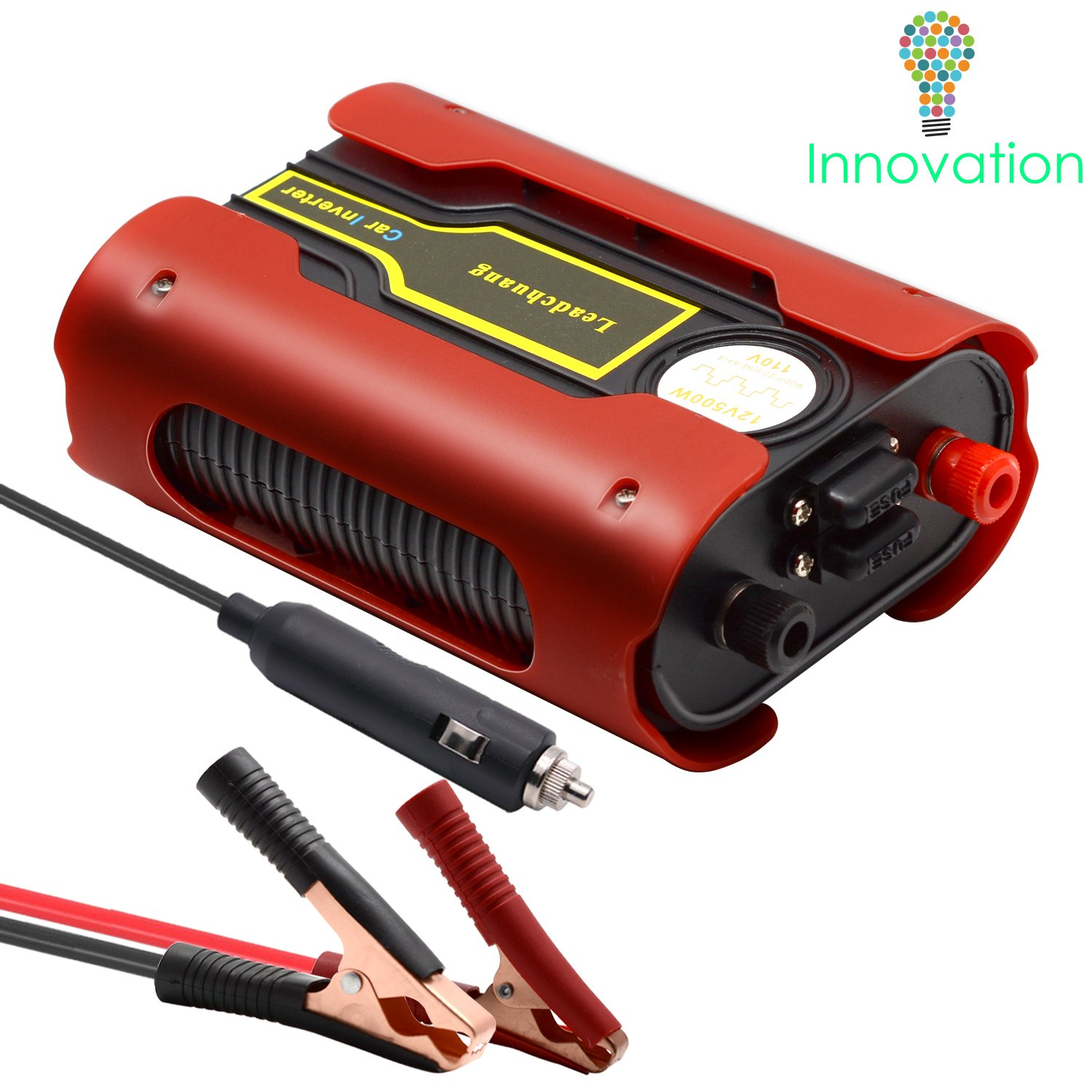 Leadchuang Car Power Inverter 500W Auto Inverter DC to 110 Volts Power Inverter Car Charger 12 Volt Inverter DC to AC Converter for Car with AC Outlet 4.8A Dual USB Charging Ports Alligator Clips …