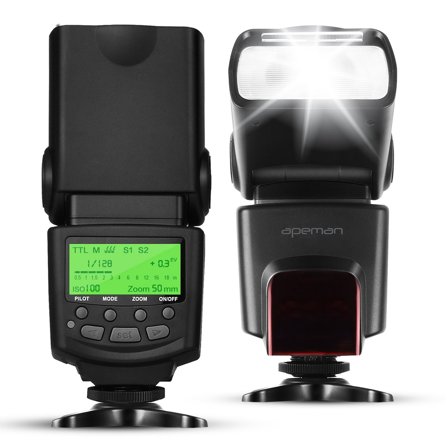 APEMAN E-TTL Speedlite Flash for Canon Kit LCD Display Light for All Canon DSLR EOS Cameras Standard Hot Shoe as Canon 1D 1Ds 5D MARK 2 6D 7D 50DT3I T2I 60D 70D 100D 500D 550D 650D etc