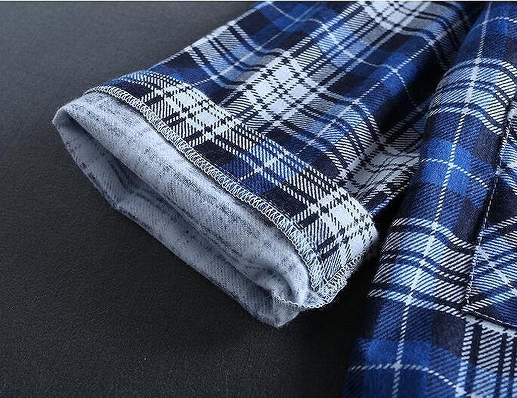LD Mens Plaid 2 Pieces Long Sleeve Top and Pants Sleepwear Pajama Sets
