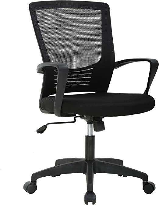 Amazon Com Ergonomic Office Chair Desk Chair Mesh Computer Chair With Lumbar Support Arms Modern Cute Swivel Rolling Task Mid Back Executive Chair For Women Men Adults Girls Black Furniture Decor