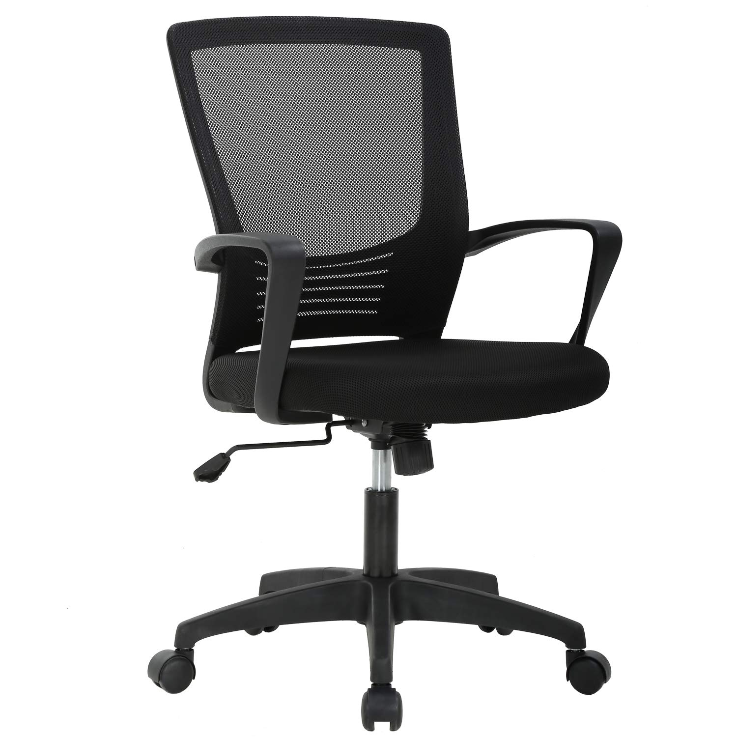Ergonomic Office Chair Cheap Desk Chair Mesh Computer Chair with Lumbar Support Arms Modern Cute Swivel Rolling Task Mid Back Executive Chair for Women Men Adults Girls,Black by BestOffice