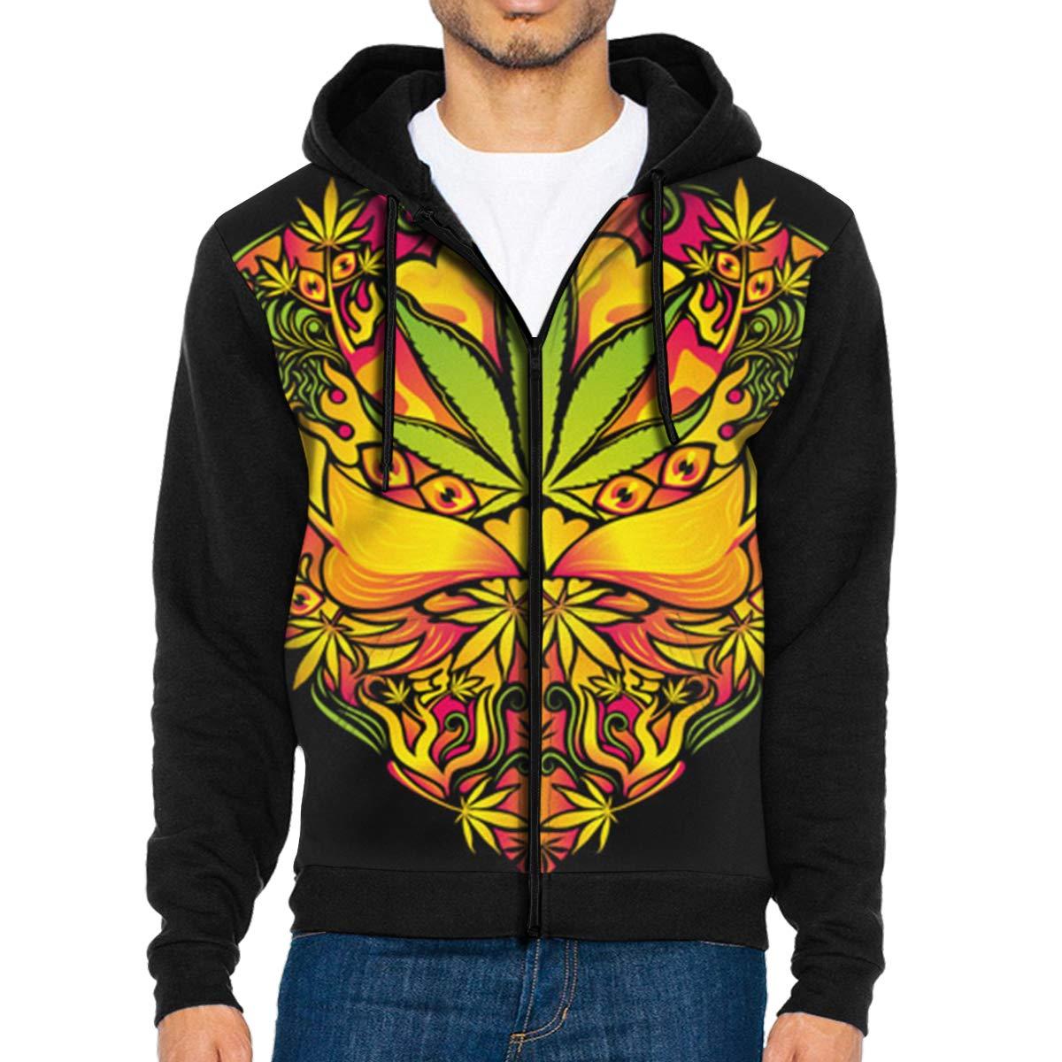 HEHE TAN Men Pullover Hood Marijuana Heart Psychedelic Zip Hoodies Hooded Popular Jackets Coats