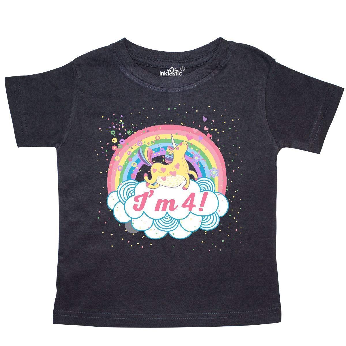 inktastic 4th Birthday Unicorn Rainbow Cute Girls Toddler T-Shirt