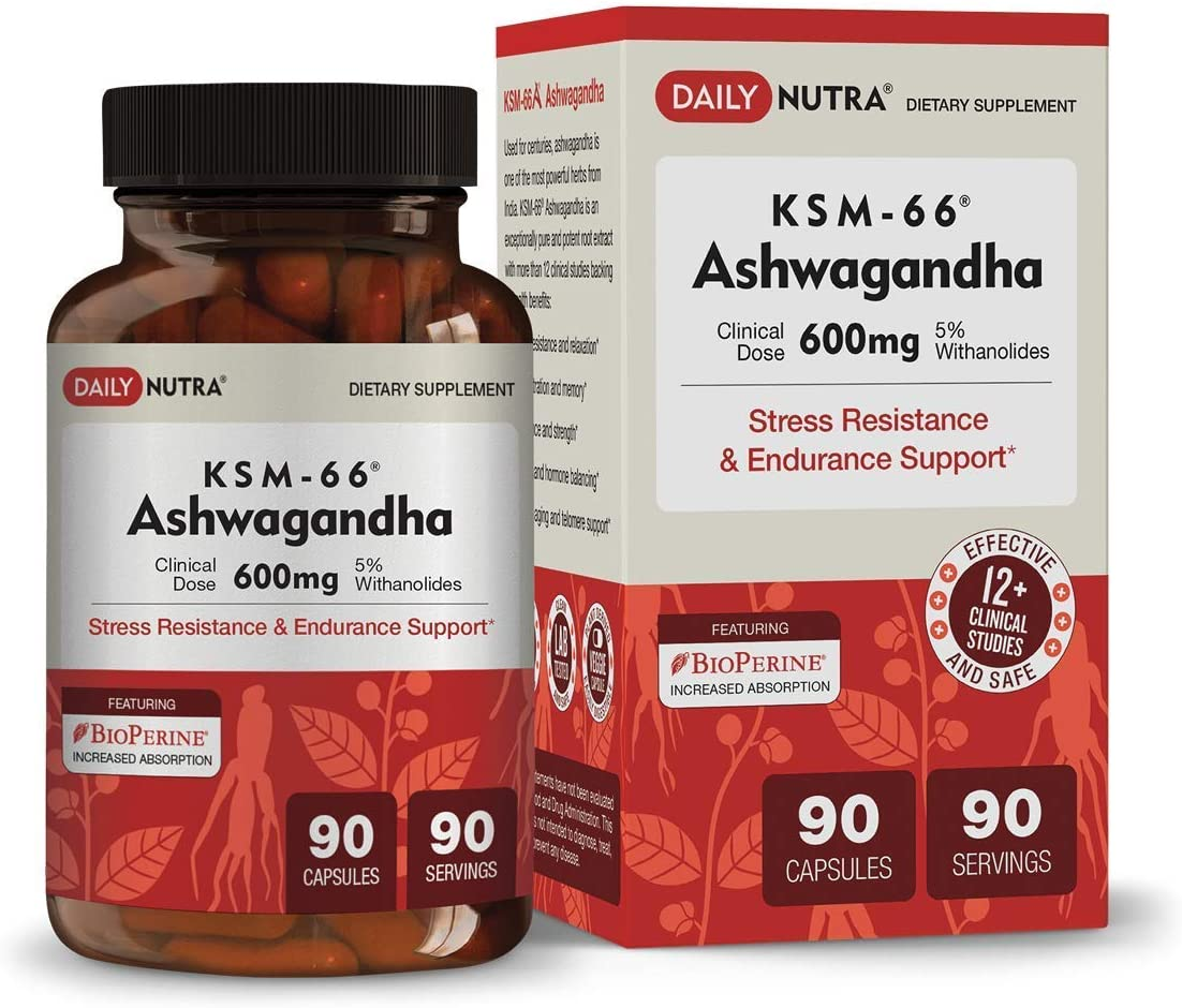 KSM-66 Ashwagandha by DailyNutra – 600mg Organic Root Extract – High Potency Supplement with 5 Withanolides Stress Relief, Increased Energy and Focus 90 Capsules