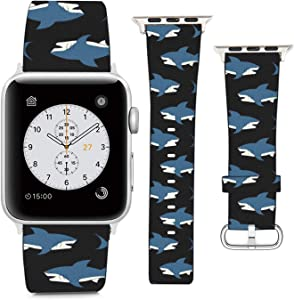 Compatible with Apple Watch Wristband 38mm 40mm, (Great White Shark Pattern) PU Leather Band Replacement Strap for iWatch Series 5 4 3 2 1