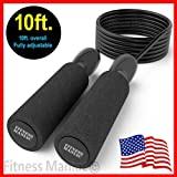 TFM USA Jump Rope Adjustable Speed Rope Black 10ft for Cardio Training Boxing MMA Fitness Sport Gym Men Women Girls Boys Kids continental U.S.