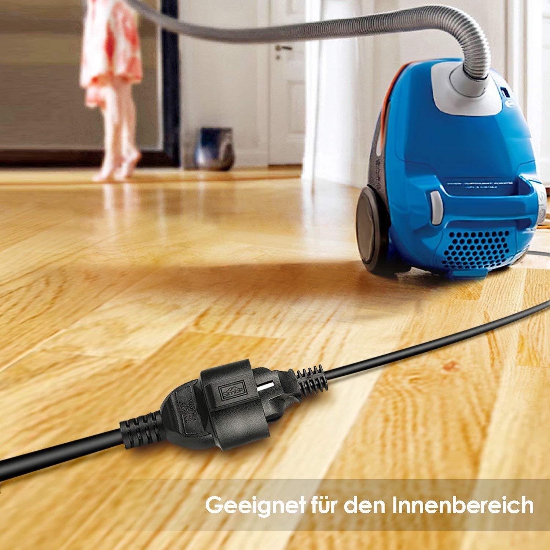 SIMBR Verl/ängerungskabel 20m Schuko Verl/ängerung H05VV-F 3G 1,5mm Schwarz