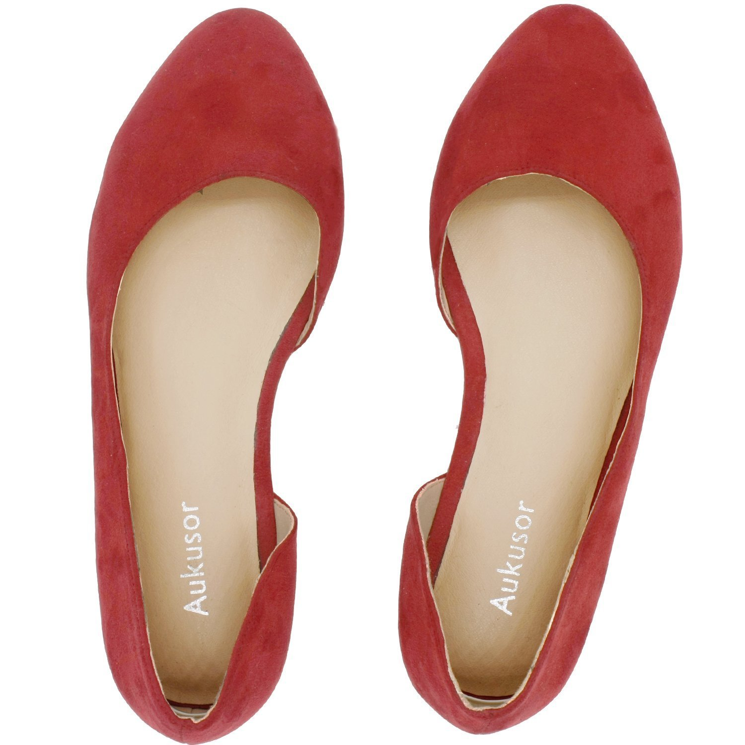 Aukusor Women's Wide Width Ballet Flat - Comfortable Slip On Closed Toe Casual Shoes.(Red 180401, 7.5WW)