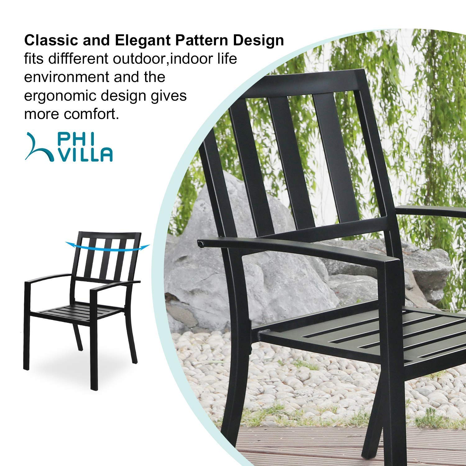 MF STUDIO 2 Piece Patio Wrought Iron Dining Seating Chair – Supports 300 LBS