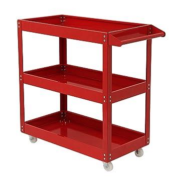 Heavy Duty Garage Storage DIY Workshop Tool Trolley Wheel Cart Tray Shelf With 3 Levels blue