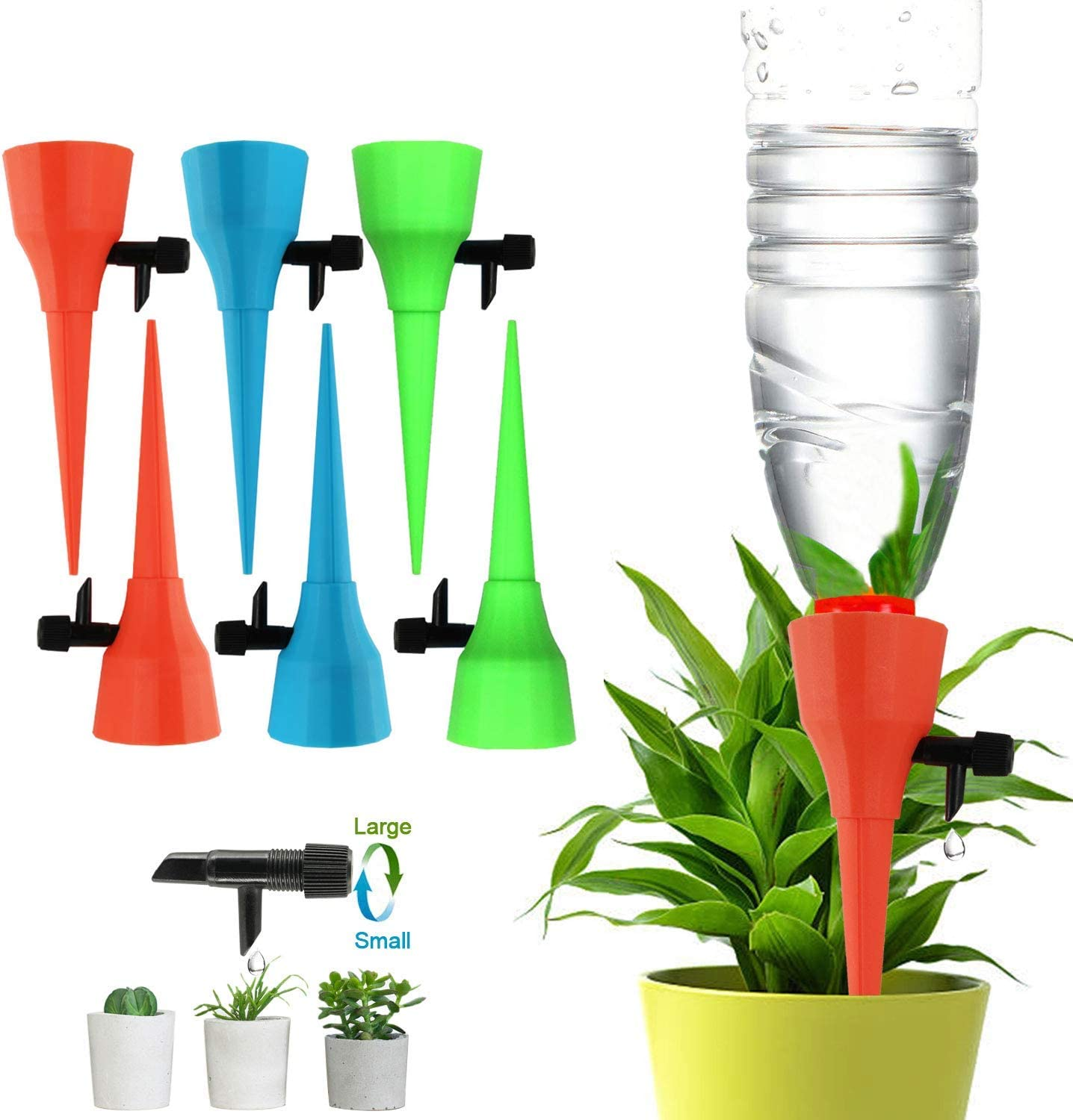 SERENDIPPER Plant Watering Spikes for Different Diameter Bottles, Automatic Irrigation Spikes with Adjustable Dripping Speed, Constant Watering Self-Dripping Irrigation Plant Waterer with No Leak