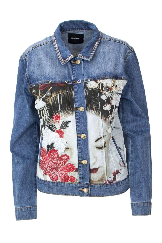 Brand Size 38 DESIGUAL Women's 18WWED40blueeE blueee Cotton Jacket
