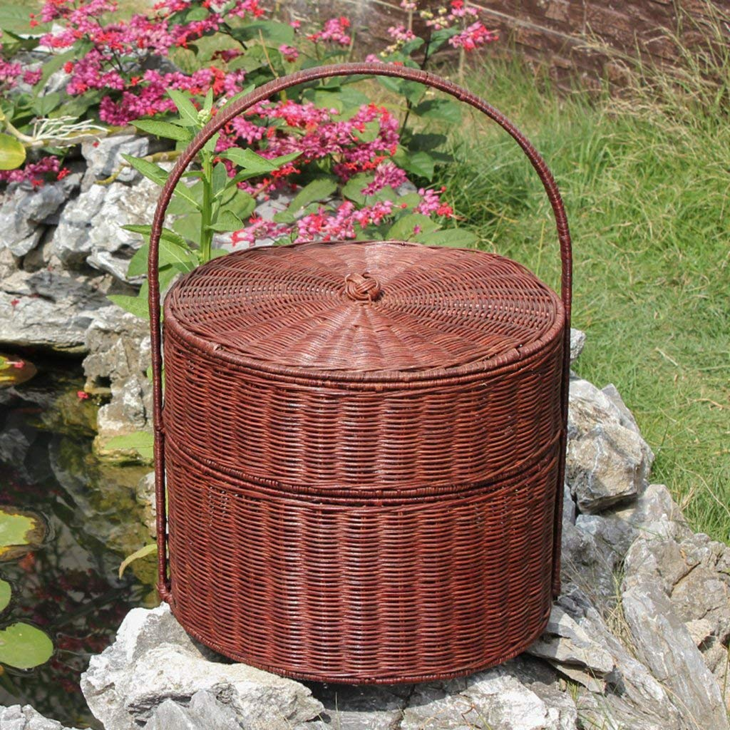 Basket Plant Rattan Handmade, Picnic Outdoor Shopping Food Clothes Organizer Storage Basket, Basket Big Space Portable 36x42cm,B