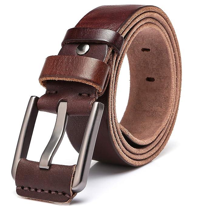 KEECOW Cinturon Hombre, Cinturón de Cuero para Hombres 100% Cuero ...