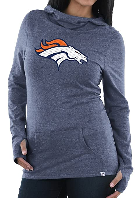 64171cce38d Majestic Athletic Denver Broncos Womens Great Play Cowl Neck Hoody Medium