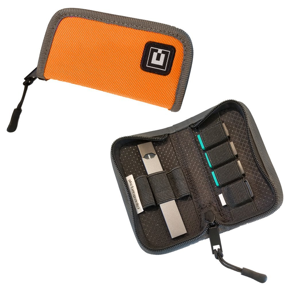 Carrying Case Wallet Compatible with The JUUL for Your Pocket or Bag - (Device not Included) (Orange) Clip & Carry