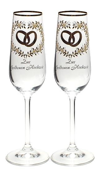 Sektglas Set Goldene Hochzeit