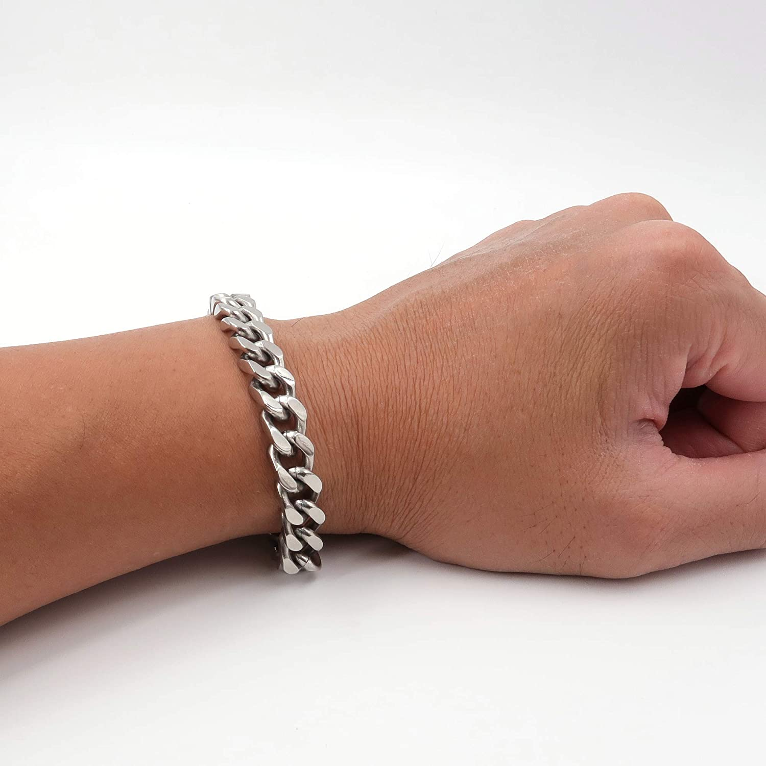 """Details about  /8.75/""""Stainless Steel 10mm Silver Cuban Curb Link Spanish Bible Verse ID Bracelet"""