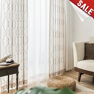 jinchan Nature Sheer Curtains for Living Room Wavy Diamond Embroidered Window Curtains Sheers for Bedroom Drapes 1 Pair 55 x 84 Inch