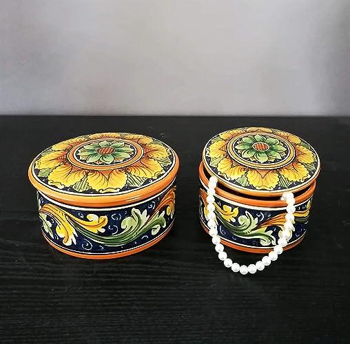 Oggetti Ceramica Di Caltagirone.Scatole Portagioie In Ceramica Di Caltagirone Amazon It Handmade
