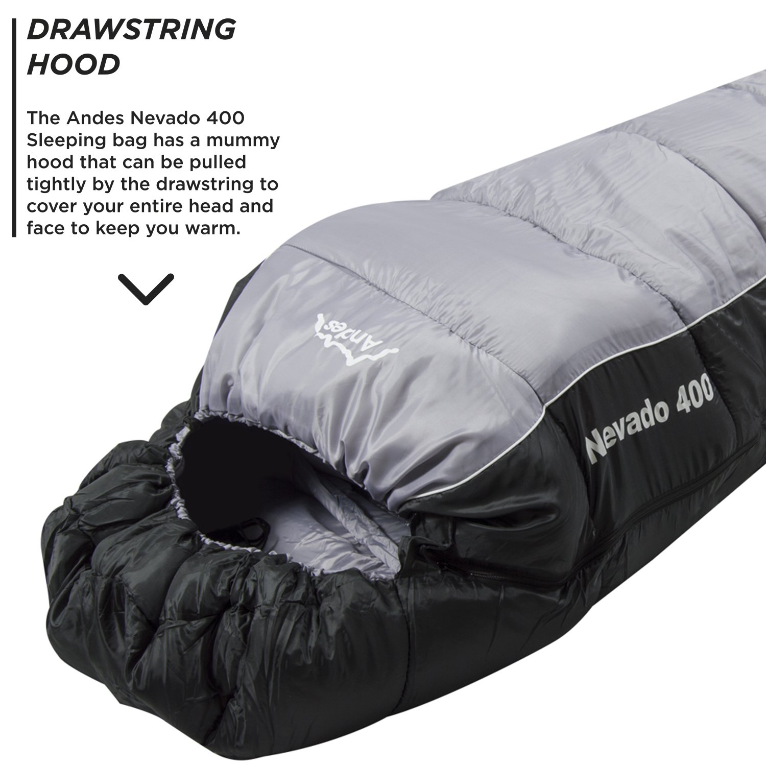 Andes Nevado 400 XL 4 Season Camping Mummy Sleeping Bag Black Grey Amazoncouk Sports Outdoors