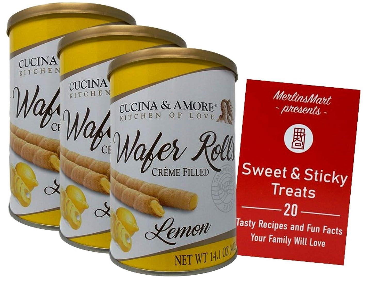 Cucina & Amore Premium Creme Filled Rolled Wafers   Gourmet Cream Cookies   Lemon (14.1 Ounces) 3 Count   Plus Recipe Booklet Bundle