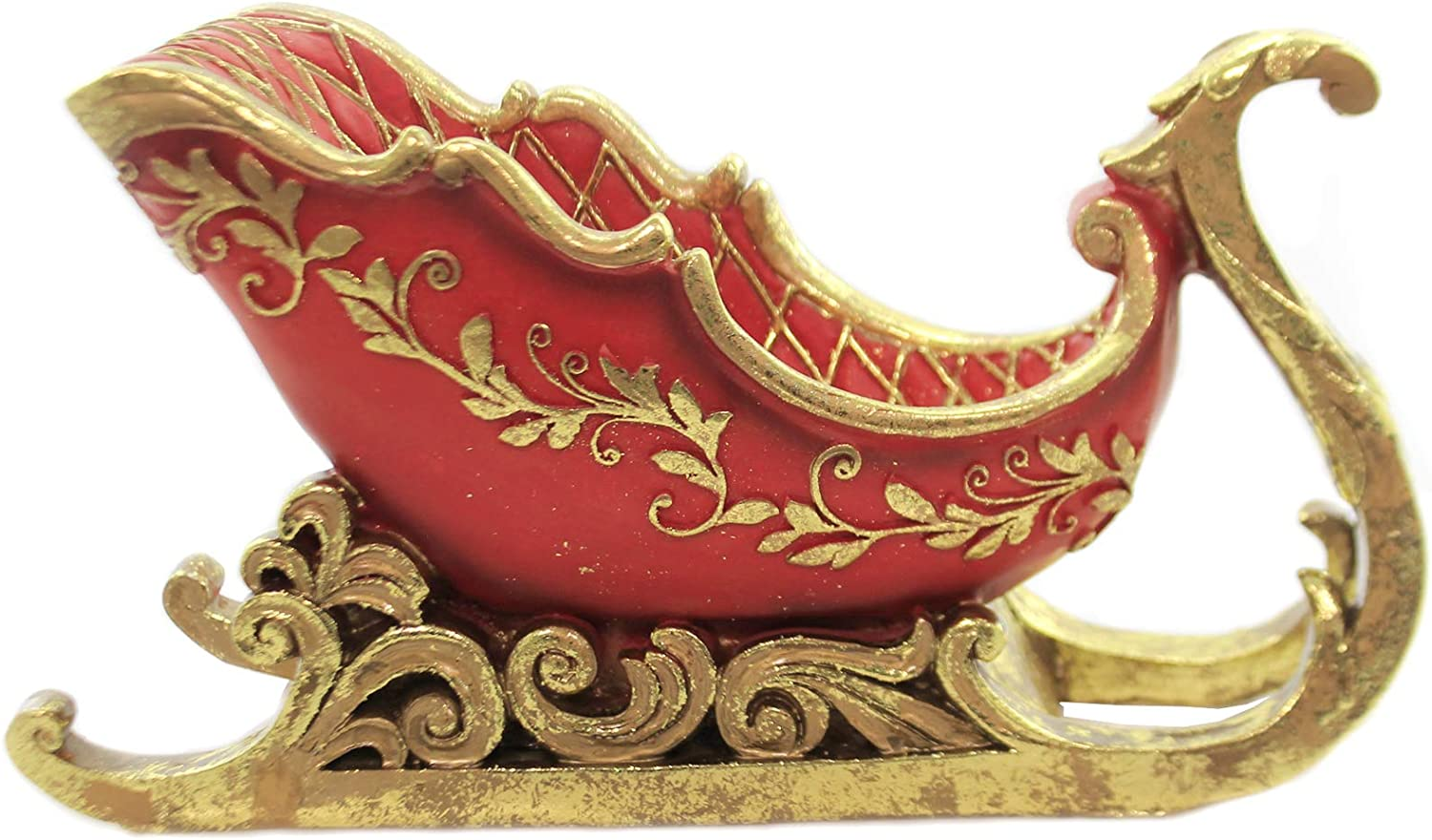 Roman Sleigh Container Rich Red//Gold Faberge Look