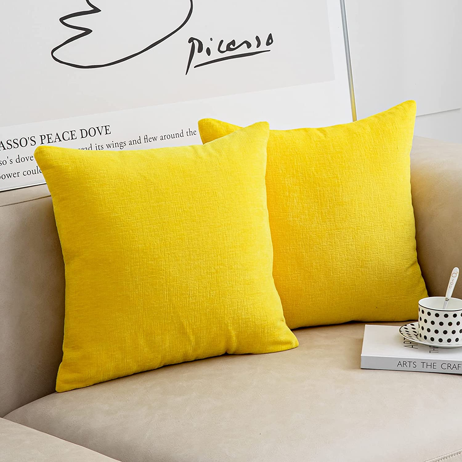 Anickal Yellow Pillow Covers 20x20 Inch Set of 2 Modern Farmhouse Rustic Decorative Throw Pillow Covers Square Cushion Case for Living Room Home Sofa Couch Decoration