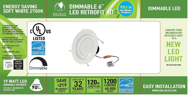 "8 Pack Bioluz LED 6"" BRIGHTEST RETROFIT 120 Watt Equivalent WARM"