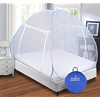 Backbone Mosquito Net - Foldable, King Size Double Bed with Saviours - (Blue & White)