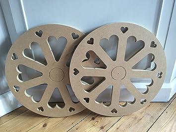 Old Farm Woodcraft 30 cm Candy Sweet Carrito Ruedas x2 corazón Recortes Listo para Pintar: Amazon.es: Hogar