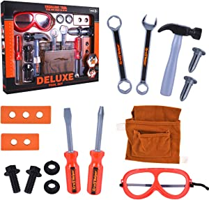 Bo-Toys 15 Pcs Deluxe Tool Set Kids Construction Pretend Play Toy Set