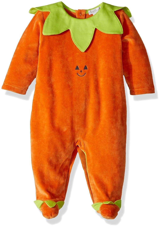 Kissy Kissy Unisex Baby Mischief Makers Velour Footie Baby Orange