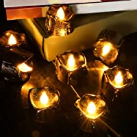 Allnice 12pcs Candle Tea Light, Flameless Battery-Powered LED Tealights, Flickering Candle Light Dripping Wax Warm Yellow Light for Christmas Halloween Festival Party - Battery Included