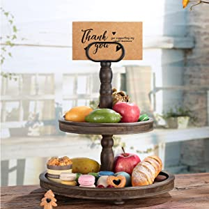 Distressed Wood 2-Tier Tray Decorative Trays, Vintage Decor, Round Decorative Distressed Round Fruit Holder for Macaron Plate Cakes, Fruits, Desserts Fruits Snack Candy Buffet Display Cake Stand