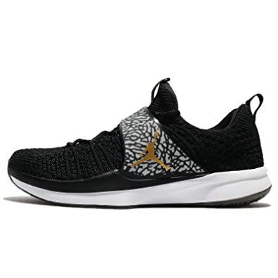 super popular 93c8b 3af7b Image Unavailable. Image not available for. Color  NIKE Jordan Men s  Trainer 2 Flyknit, Black Metallic Gold-White ...