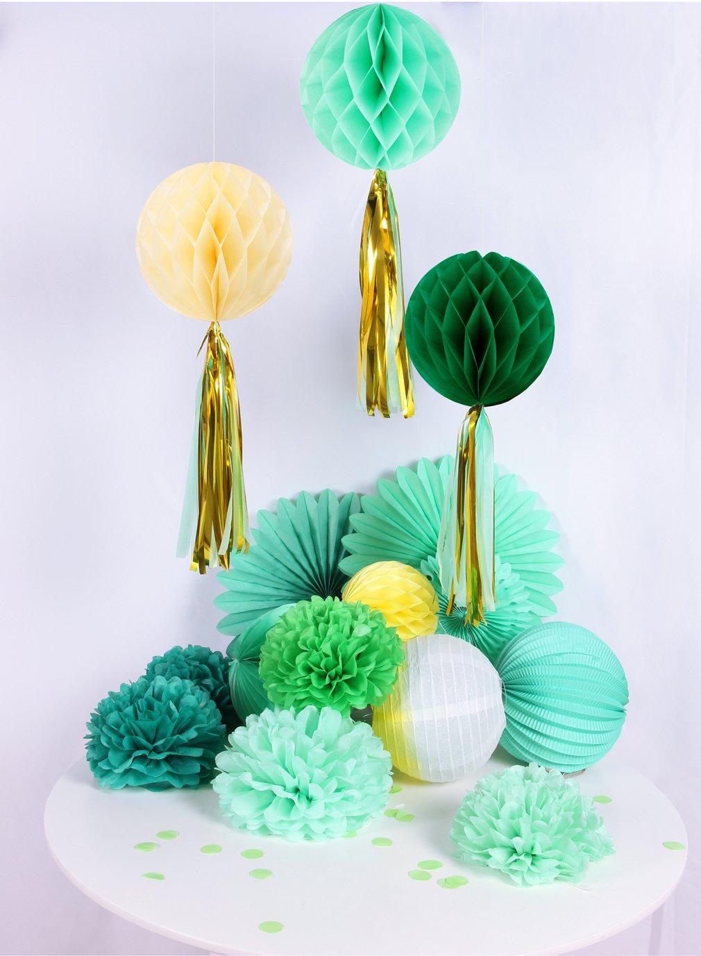Easy Joy Decorazione da Camera, Pom Pom Fiore e Lanterna Carta, DIY Decorazione per Festa, Compleanno, Anniversario (17 Pezzi, Verde Giallo)