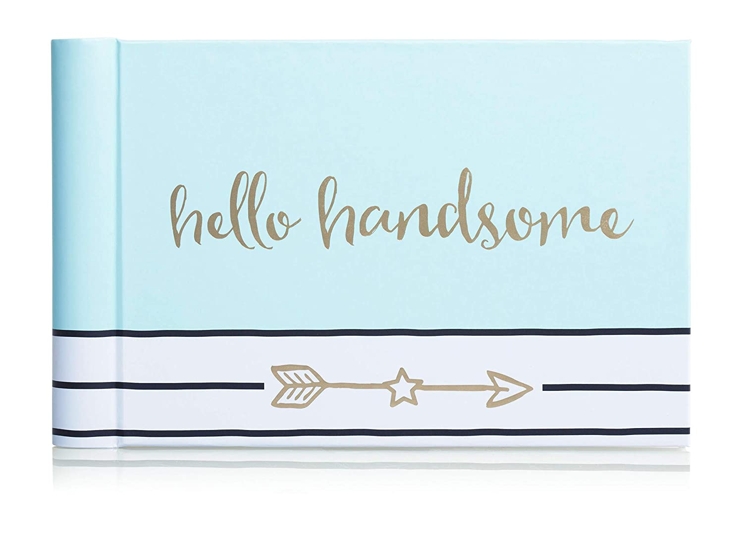 Pearhead Hello Handsome Brag Book, A Perfect Gift for Expecting Parents, or Addition to Baby Registry, Blue