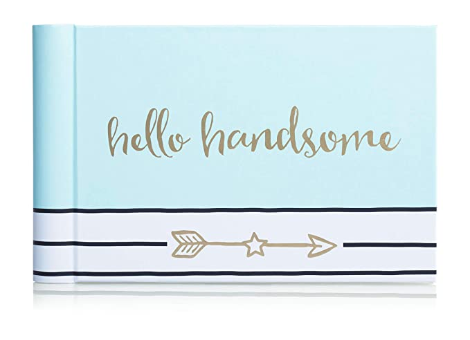 Pearhead Hello Handsome Brag Book a perfect Gift for Expecting Parents or Addition to Baby Registry Blue