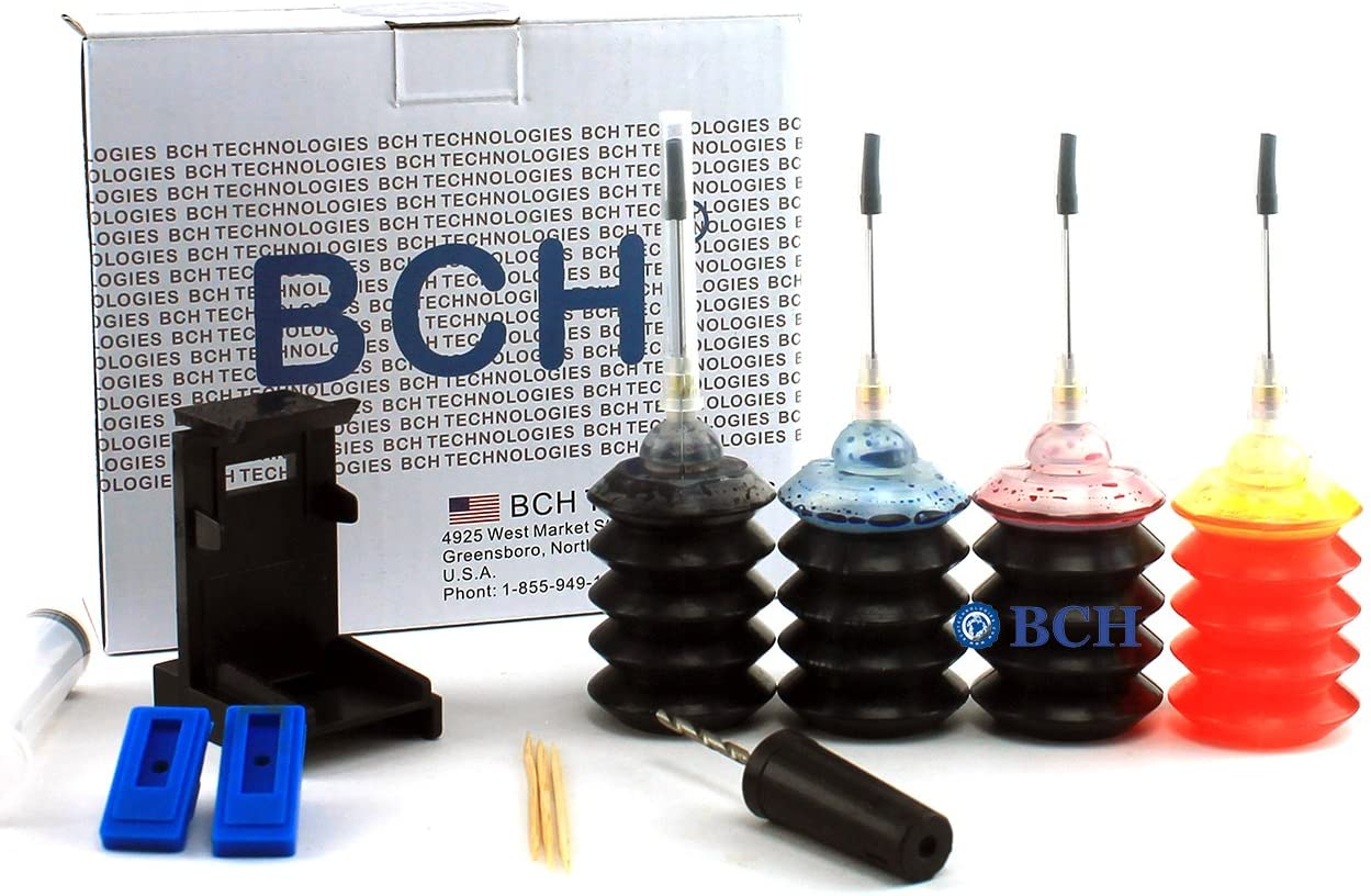 Ink Refill Kit by BCH - for Inkjet H Printer Cartridges: 60 61 62 63 64 65 901 902 & More -