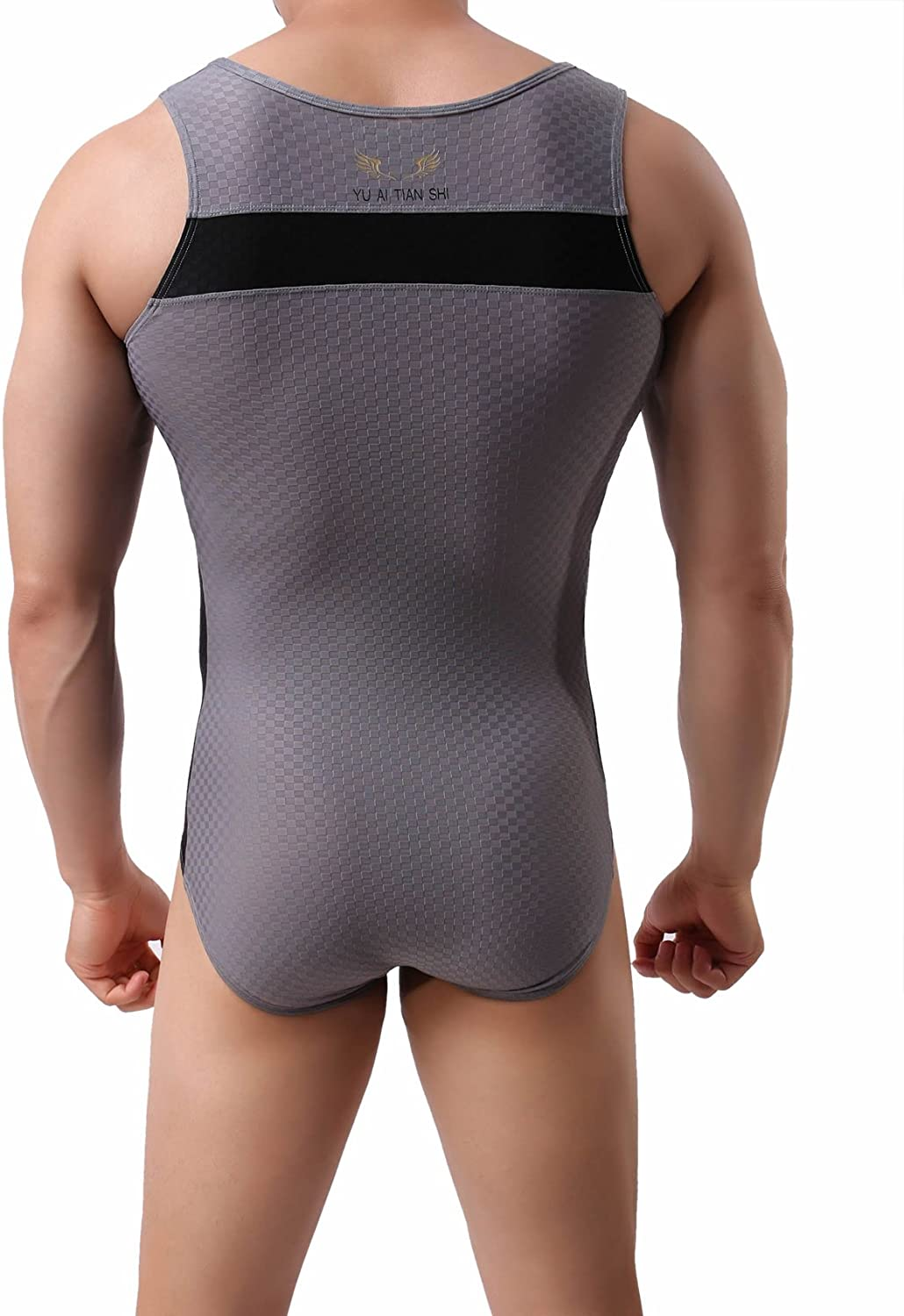 Cycling 2241 BRAVE PERSON Mens Figure-Shape Bodysuits Elastic Workout Clothes Swimwear XL // 33-38, 001- Gray Fitness
