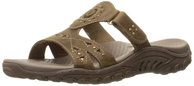 Skechers Women's Reggae Trench Town Slide Sandal,Desert Crazy Horse Leather,5 M US