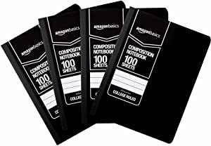 AmazonBasics College Ruled Composition Notebook, 100 Sheet, Solid Black, 4-Pack
