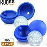 KUDES 2-Pack Star Wars Death Star Silicone Sphere Ice Ball Maker Mold, Ice Mold Tray for Drinks (Blue)