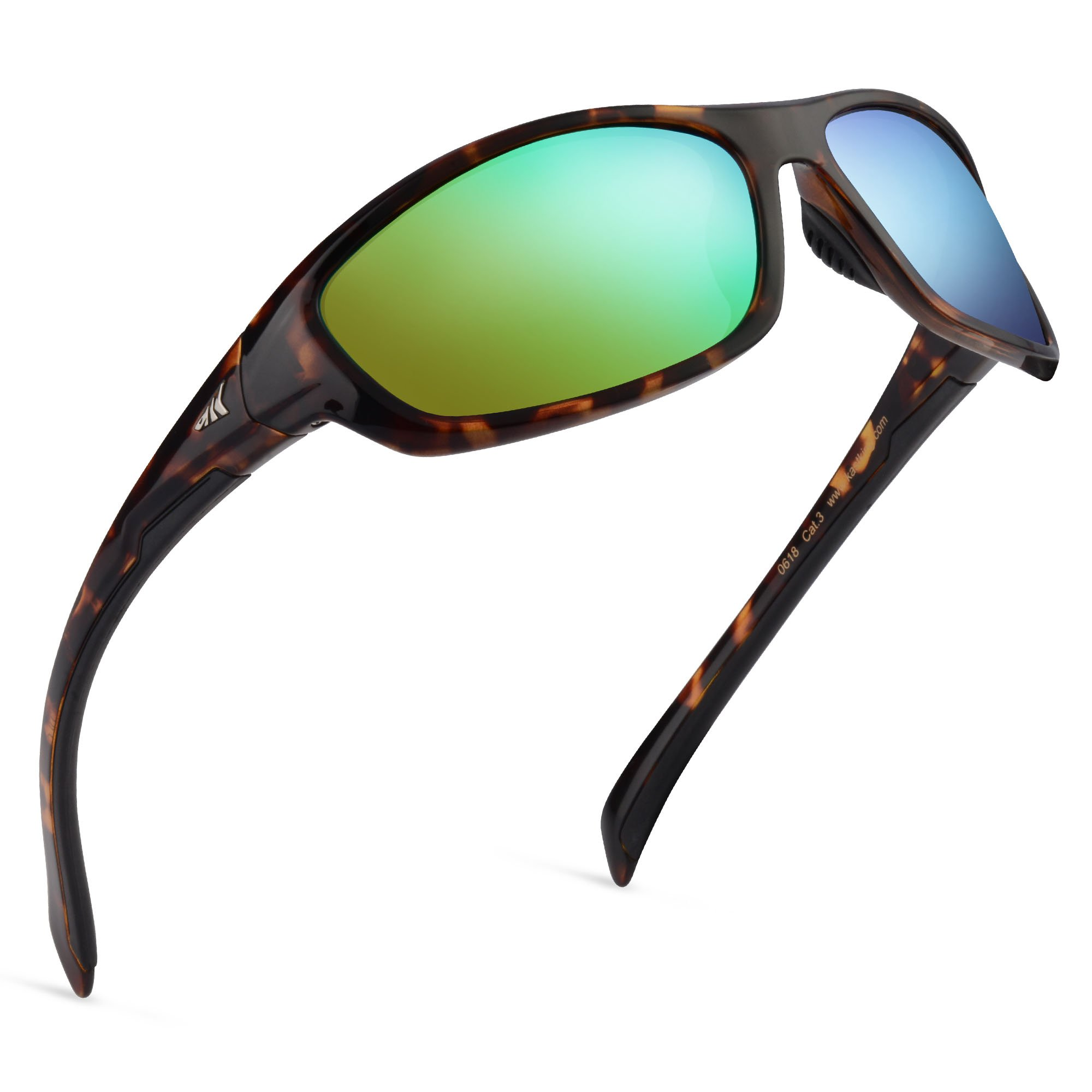 Kastking Hiwassee Polarized Sport Sunglasses, Gloss Demi Frame,Brown Chartreuse Mirror by KastKing