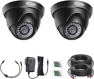 ZOSI 2Pack 2MP 1080p HD-TVI Home Security Camera Outdoor Indoor 1920TVL, 24PCS LEDs, 80ft Night Vision,Surveillance CCTV Dome Camera for 720P/1080P/5MP/4K HD-TVI AHD CVI Analog DVR Systems